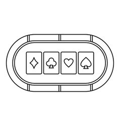 Poker table with playing cards icon outline style vector image