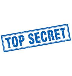 Top secret blue square grunge stamp on white vector