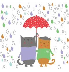 Two kittens on a rainy day vector