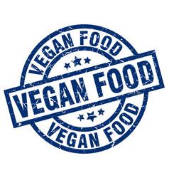 vegan food blue round grunge stamp vector image vector image