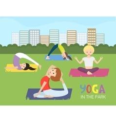Women doing yoga in the park vector