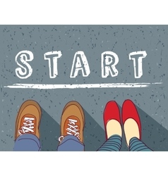Young couple begin way start line and love vector image vector image