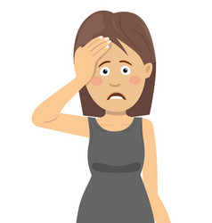 young woman having headache touching her forehead vector image