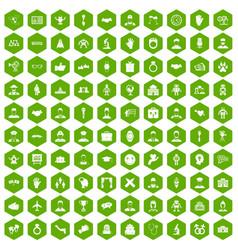 100 handshake icons hexagon green vector