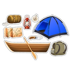 Sticker set of camping objects vector