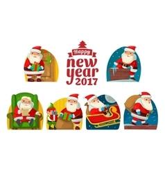 Santa claus and elf set flat vector