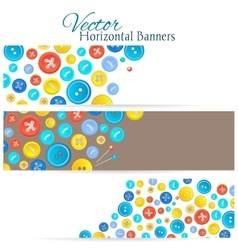 Set of 3 banners with vintage buttons vector