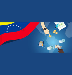 Venezuela economy fiscal money trade concept vector