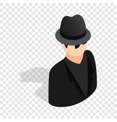 Man in black sunglasses and black hat isometric vector