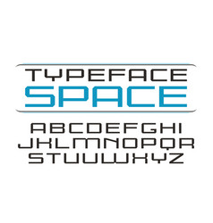 Square sanserif font in computer style vector