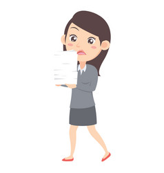Business women with paper character vector