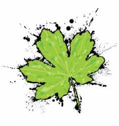 inked leaf vector image