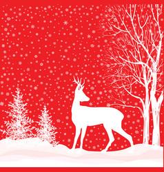 snow winter landscape deer merry christmas card vector image