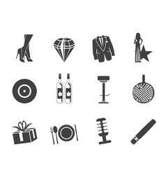 Luxury party and reception icons vector image