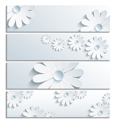 Set of floral banner with 3d chamomile gray vector