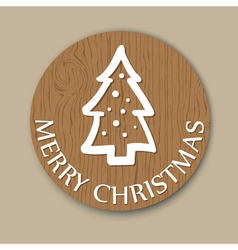 Round woody christmas greeting with christmas tree vector