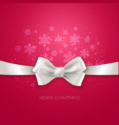 Pink christmas background with white silk bow vector