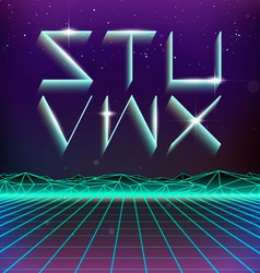 80s retro futurism geometric font from s to x vector
