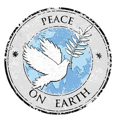 Bird dove as peace symbol stamp international vector