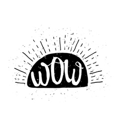 Wow message poster with grunge texture vector
