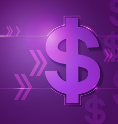 Dollar signs on violet background vector