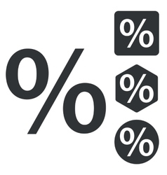 Percent icon set monochrome vector