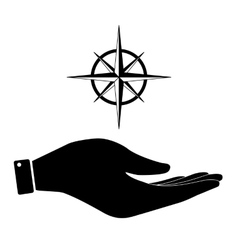 Wind rose in hand icon vector
