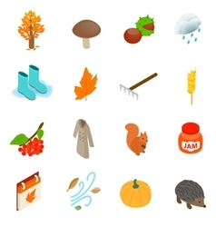 Autumn elements icons set isometric 3d style vector