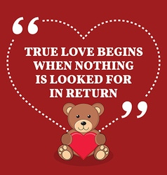 Inspirational love marriage quote true love begins vector
