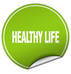 Healthy life round green sticker isolated on white vector