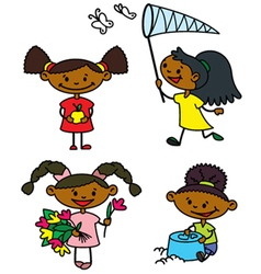 Cute afroamerican girls characters vector