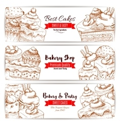 Bakery pastry shop sketch banners set vector