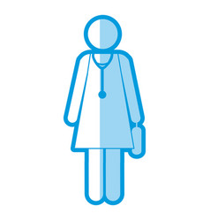 Blue shading silhouette pictogram female doctor vector