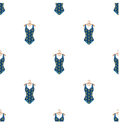 Blue swimsuit with sunflowers swimsuit for vector