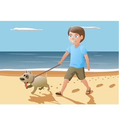 Boy and dog walking on vector