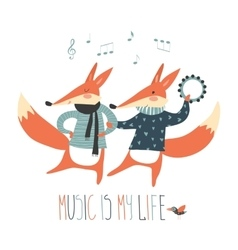Cheerful dancing foxes on a white background vector image vector image
