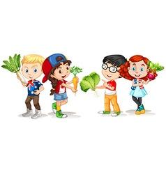 Children holding fresh vegetables vector image vector image