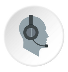 Client support service operator in headset icon vector