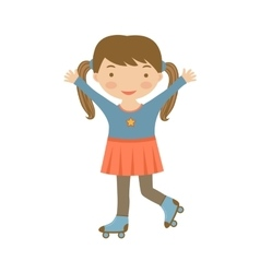 Cute little girl ice skating vector image vector image