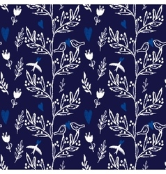 Dark blue seamless pattern flowers and birds vector