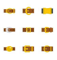 Fashion belt buckle icon set flat style vector