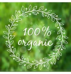 Floral frame on a green blurred background vector image vector image