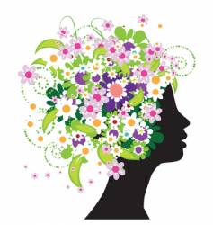 floral head silhouette vector image vector image