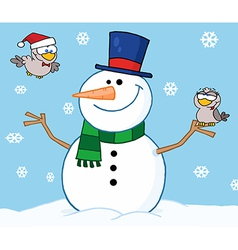 Friendly Snowman With A Cute Birds vector image