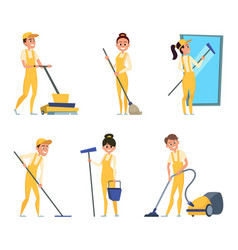funny characters of cleaning or technician service vector image vector image