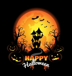 Halloween background with pumpkins on the night vector