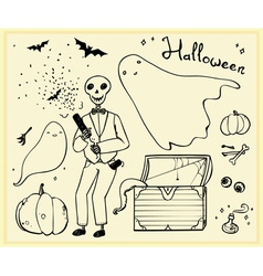 Halloween set outline elements ghosts skeleton bat vector