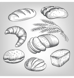 hand drawn bakery icons set vector image