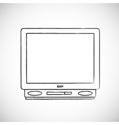Hand drawn retro TV vector image