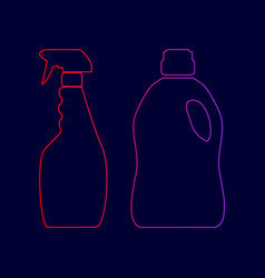 Household chemical bottles sign line icon vector